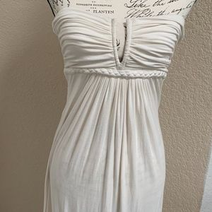 Sky Jersey Lace Trim Maxi Dress Cream Small